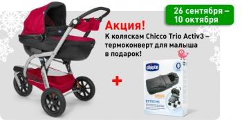 Акция! К акционным коляскам Сhicco Trio Active3 в подарок термоконверт для малыша!