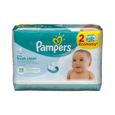 Супер цена на салфетки Pampers Baby Fresh, 2x64 шт!