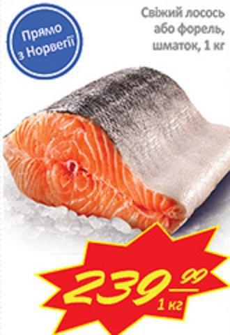 Скидки на свежий лосось и форель!
