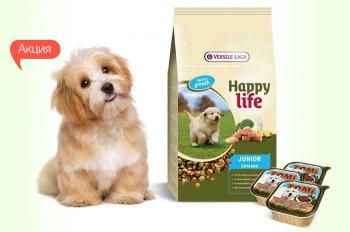 К сухому корму для щенков Happy Life Юниор со вкусом курицы - 3 банки паштета TOMi в подарок!