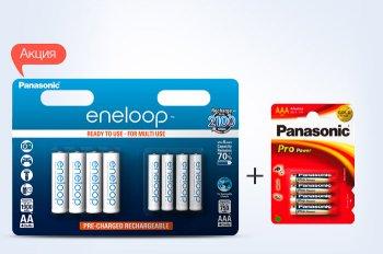 К аккумуляторам Panasonic eneloop AA 1900 mAh + AAA 750 mAh Ni-MH 8 шт - батарейки Panasonic Pro Power AAA в подарок!