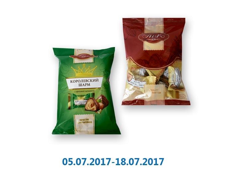 Конфеты Королевский Шарм, с ореховой/ со сливочной начинкой ТМ «АВК» - 113 г
