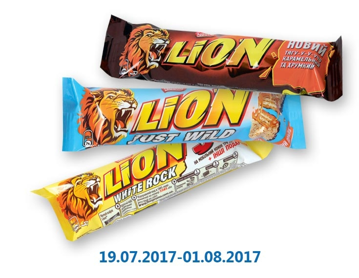 Вафли/ Батончик Lion White Rock/Lion/ Lion Just Wild ТМ «Nestle» - 42 г/31 г