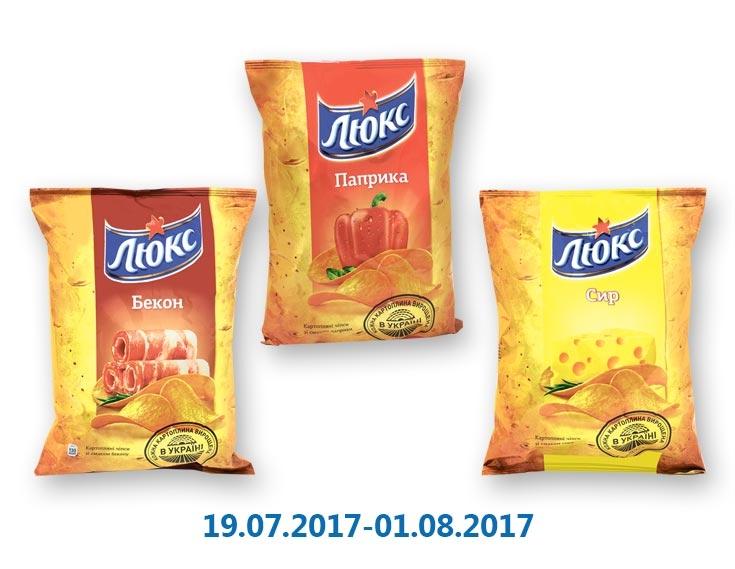 Чипсы бекoн/сыр/паприка ТМ «Люкс» - 120 г