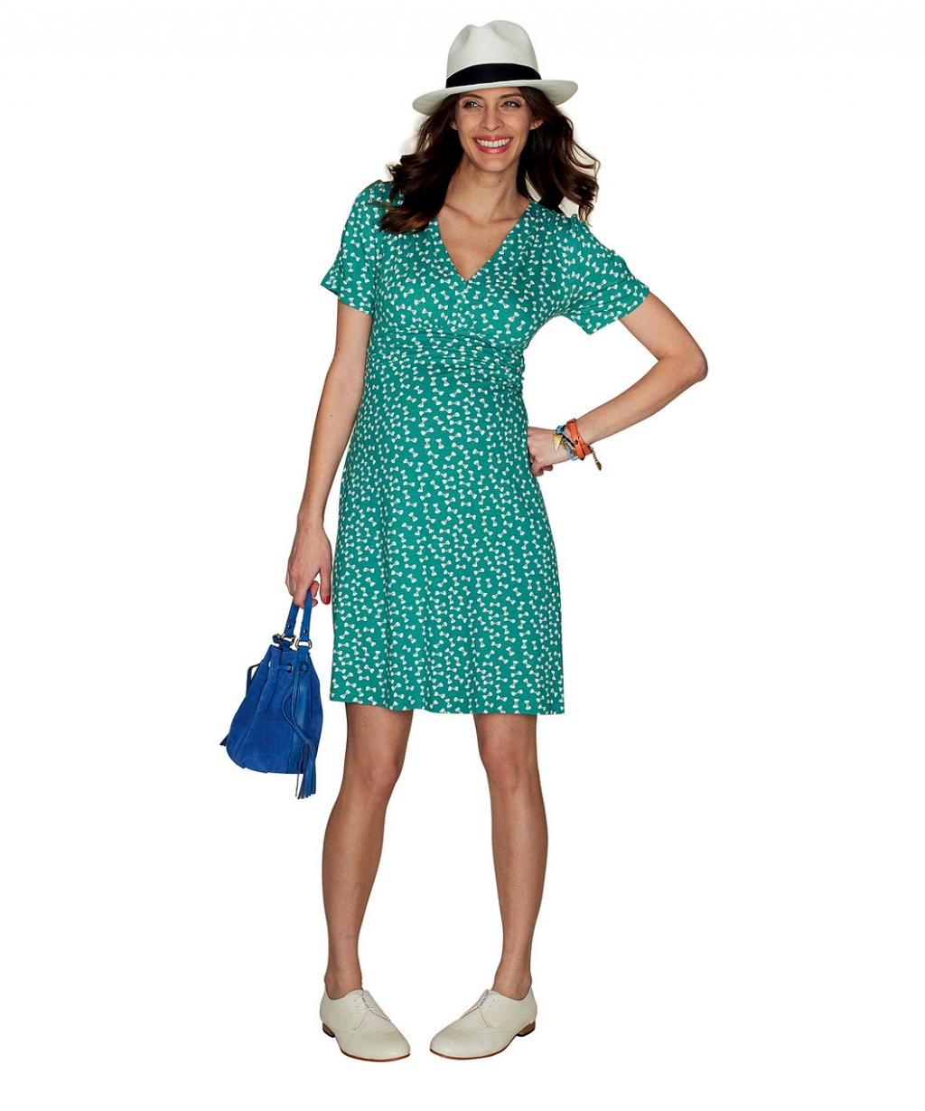 Сукня зелена з принтом бантиків для майбутніх мам (Mothercare)