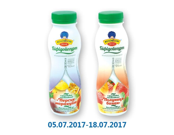 Бифидойогурт Персик-маракуйя/ Клубника-банан, 0,05% ТМ «Волошкове поле» - 290 г