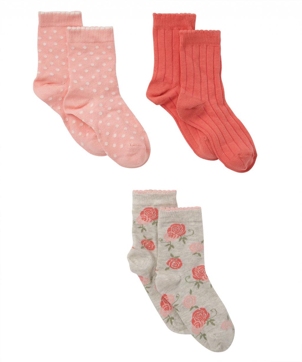 Шкарпетки у квіточку, цяточку та смужку - 3 шт. (Mothercare)