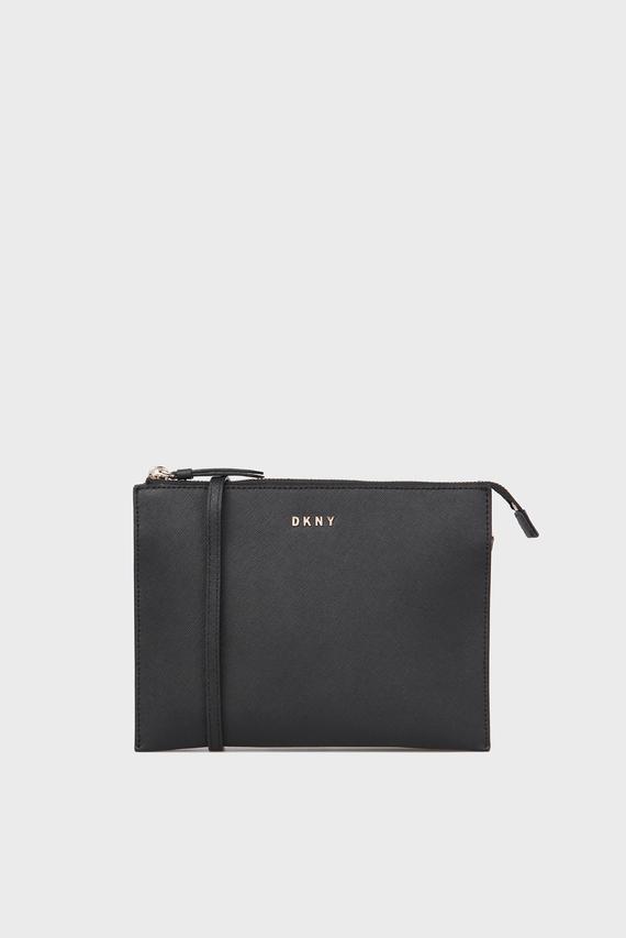 be7a69f639c0 Женская черная кожаная сумка через плечо DKNY купить со скидкой ...