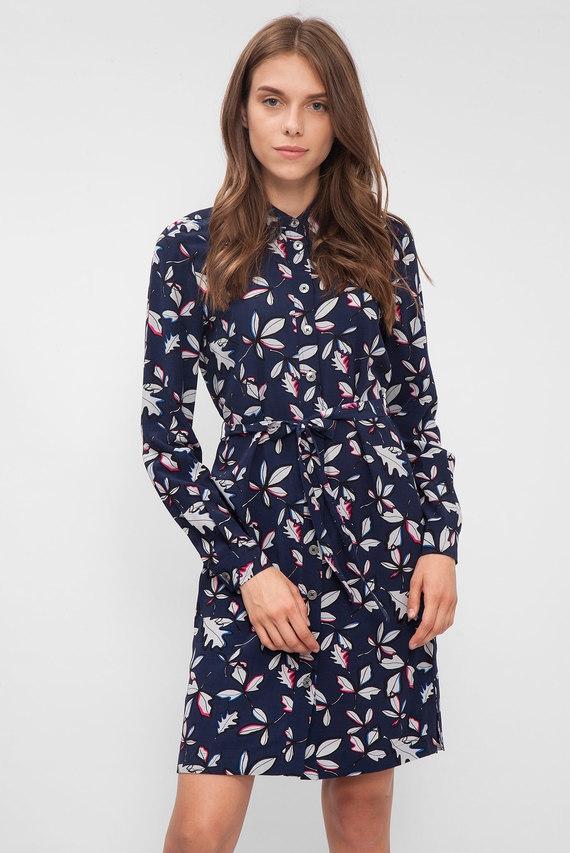 e40ee166f3972ba Женское темно-синее платье-рубашка Tommy Hilfiger купить со скидкой ...