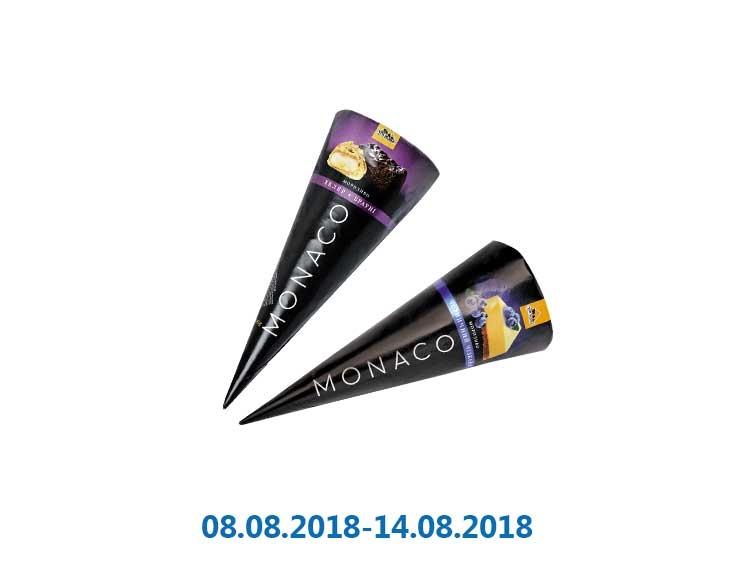 Мороженое «Monaco» рожок Эклер-Брауни/ черничный чизкейк ТМ «Три Ведмеді» - 110/110 г