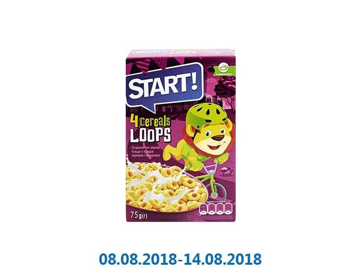 Сухие завтраки кольца зерновые, глазированные ТМ «Start» - 75 г
