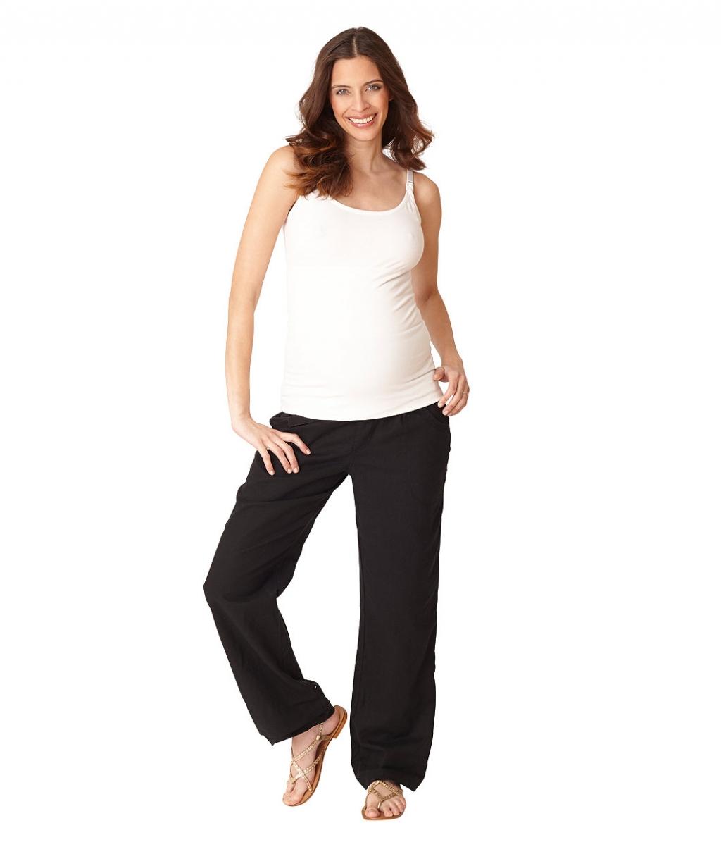 Брюки чорні лляні в стилі Casual для майбутніх мам (Mothercare)