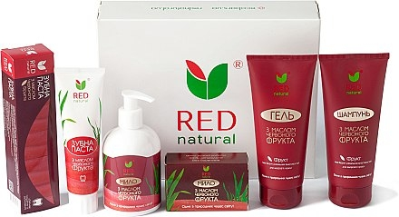 Набор (Red Natural (shm/200ml + sh/gel/200ml + t/paste/100g + soap/250ml + soap/100g))