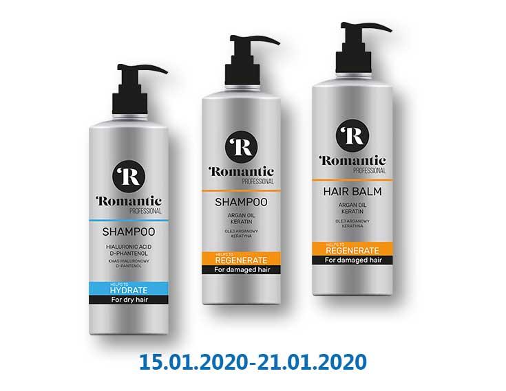 Шампунь/Бальзам для волос Professional регенерирующий/ увлажняющий ТМ «Romantic» - 0,85 л.