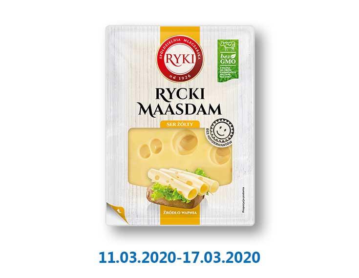 Сыр полутвердый «Маасдам» пластинками, 45% ТМ «Ryki» - 135 г