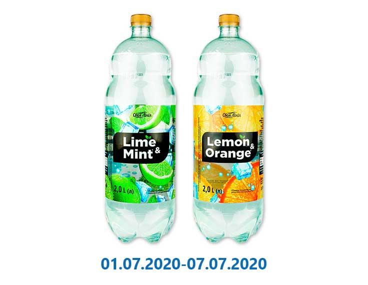 Напиток вкус Лайма и Мяты/ вкус Лимона и Апельсина, безалкогольный сильногазированный ТМ «Своя Лінія» - 2 л
