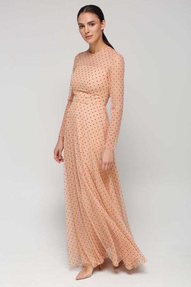 Бежева сукня максі із сітки у червоний горох