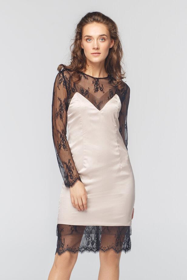 Чорна подвійна сукня з сатинової комбінації та мережива FROLOV × MUST HAVE