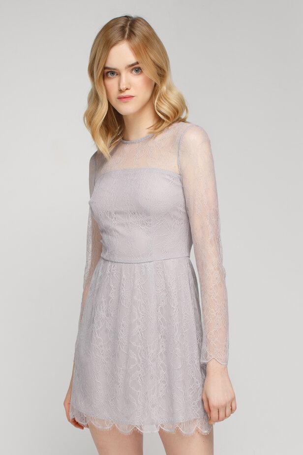 Сіра мереживна сукня міні з довгими рукавами